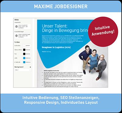 Der Maxime Jobdesigner unterstützt Sie bei der Erstellung von Stellenanzeigen