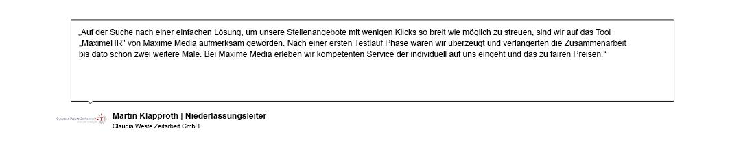 Kundenreferenz der Claudia Weste Zeitarbeit GmbH