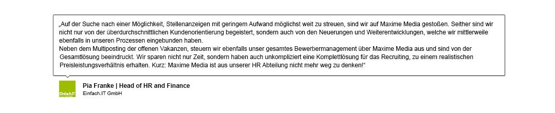 Kundenreferenz der Einfach IT GmbH