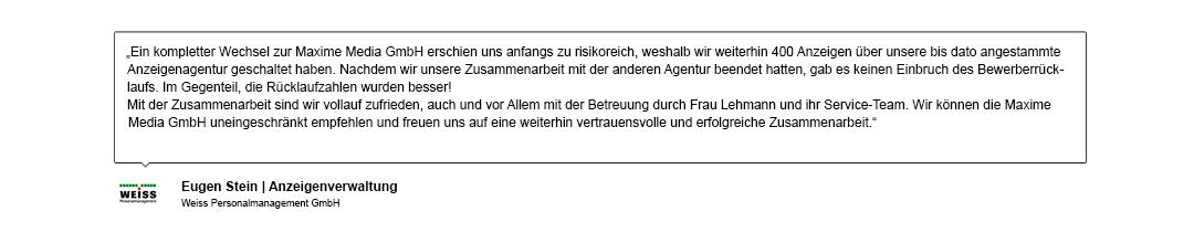 Kundenreferenz der Weiss Personalmanagement GmbH